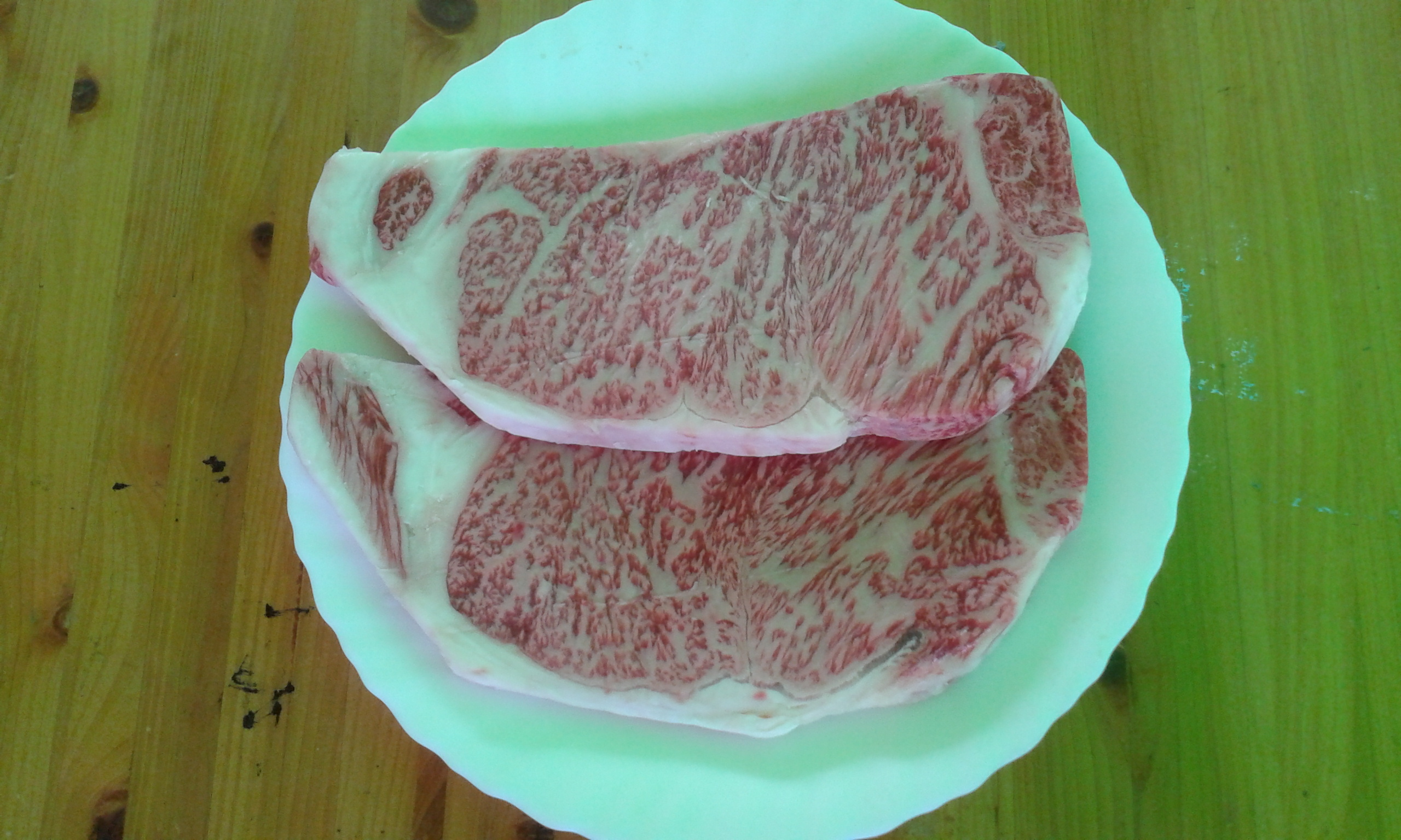 japanese wagyu and fresh wasabi